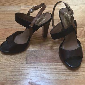 Color block heel sandals
